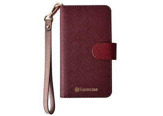 Red Color Wallet Leather Phone Case , iPhone Leather Folio Case Logo Printed