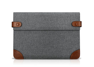 Grey Color Cotton Tablet Sleeve 278*187*30mm Dimension With Two Buttons